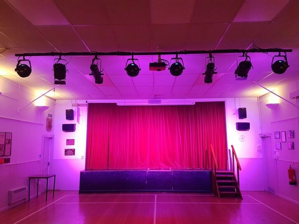 Barkway Village Hall stage lighting
